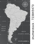 south america minimal map with... | Shutterstock .eps vector #723845473