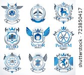 heraldic vector signs decorated ... | Shutterstock .eps vector #723850417