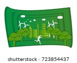 a man is running in the green... | Shutterstock .eps vector #723854437