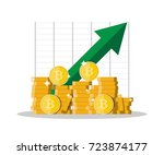 golden coin with bitcoin sign... | Shutterstock .eps vector #723874177