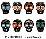 stylish vector sugar skull with ... | Shutterstock .eps vector #723881293
