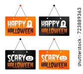 happy halloween   scary... | Shutterstock .eps vector #723889363