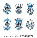 royal symbols lily flowers ... | Shutterstock .eps vector #723890977