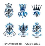 royal symbols lily flowers ... | Shutterstock .eps vector #723891013