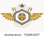 heraldic sign made using vector ... | Shutterstock .eps vector #723891037