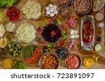 assorted sausages and... | Shutterstock . vector #723891097