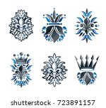 lily flowers royal symbols ... | Shutterstock .eps vector #723891157