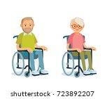 seniors with wheelchairs | Shutterstock .eps vector #723892207