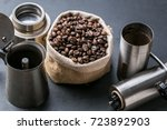 Small photo of Old Moka coffee pot with manual coffee grinder and coffee bean