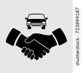 handshake and car vector icon | Shutterstock .eps vector #723894187
