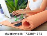 relax at work concept. yoga mat ... | Shutterstock . vector #723894973