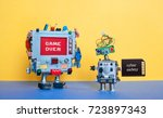 game over cyber safety concept. ... | Shutterstock . vector #723897343