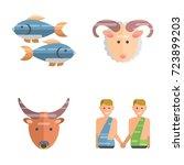 zodiac signs flat set of... | Shutterstock .eps vector #723899203