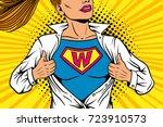 Pop Art Female Superhero. Youn...