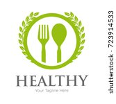 spoon and fork healthy food... | Shutterstock .eps vector #723914533