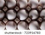white eggs in carton box .... | Shutterstock . vector #723916783