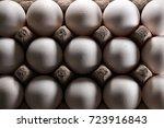 white eggs in carton box .... | Shutterstock . vector #723916843