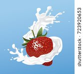 milk and strawberry flyer | Shutterstock .eps vector #723920653