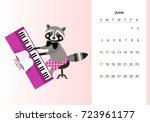 june. colorful monthly calendar ... | Shutterstock .eps vector #723961177
