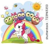 cartoon unicorn and five cute...   Shutterstock .eps vector #723965353