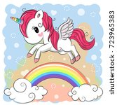 Cute Cartoon Unicorn Is Flying...