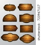 wooden signs  vector icon set | Shutterstock .eps vector #723967117