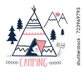camping and sweet bear hand... | Shutterstock .eps vector #723969793