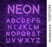 realistic neon alphabet.... | Shutterstock .eps vector #723971293