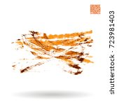 orange brush stroke and texture.... | Shutterstock .eps vector #723981403