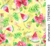 watercolor seamless pattern... | Shutterstock . vector #723983683