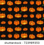 seamless background with spooky ... | Shutterstock .eps vector #723989353