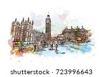 watercolor sketch of big ben... | Shutterstock .eps vector #723996643