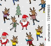 santa and happy reindeer with...
