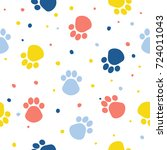 abstract dog paw seamless... | Shutterstock .eps vector #724011043