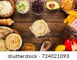 venezuelan typical food  arepas ...   Shutterstock . vector #724021093