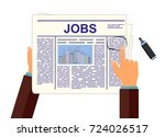 job seeker in newspaper. vector ... | Shutterstock .eps vector #724026517