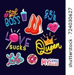 fashion girls stickers and... | Shutterstock .eps vector #724030627