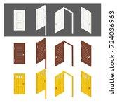 isometric collection of doors.... | Shutterstock .eps vector #724036963
