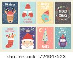 set of cute christmas greeting... | Shutterstock .eps vector #724047523