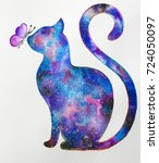 Cat Watercolor With Butterfly...