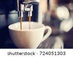 espresso machine making fresh... | Shutterstock . vector #724051303