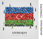 azerbaijan flag large group of...