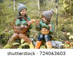 children walking in the forest... | Shutterstock . vector #724063603