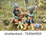 children walking in the forest...   Shutterstock . vector #724064503