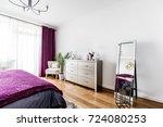 nice and warm bedroom interior... | Shutterstock . vector #724080253