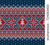 winter holiday seamless knitted ... | Shutterstock .eps vector #724083403