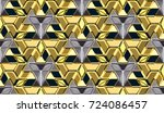 3d wall gold panels with... | Shutterstock . vector #724086457