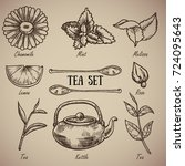 engraving a tea set  chamomile  ... | Shutterstock .eps vector #724095643