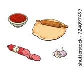 pizza ingredients   dough ... | Shutterstock .eps vector #724097497