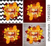 set autumn sale flyer template... | Shutterstock .eps vector #724101223